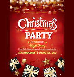 merry christmas party light and gift box for vector image vector image