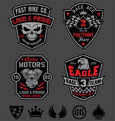 Motor racing emblem patch set vector image