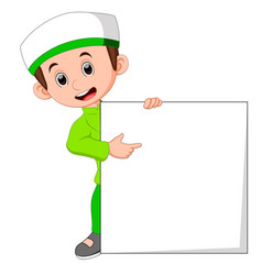 muslim boy with sign board vector image vector image