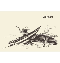 Person boat river vietnam hand drawn vector