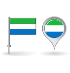 Sierra Leone pin icon and map pointer flag vector image vector image