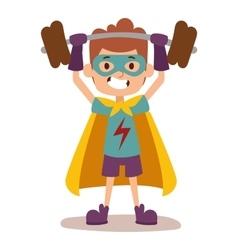Superhero kid boy cartoon vector image