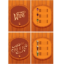 Template for the cover of the beer and wine menu vector