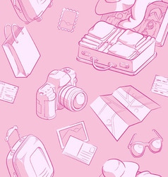 Travel object sketch seamless pattern vector