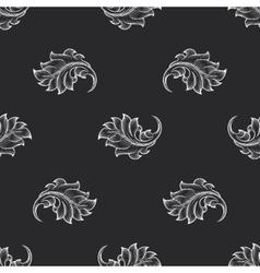 Vintage baroque engraving floral pattern vector