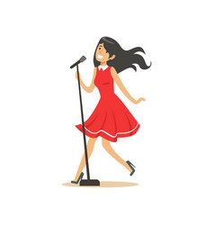 Young beautiful brunette girl in red dress singing vector