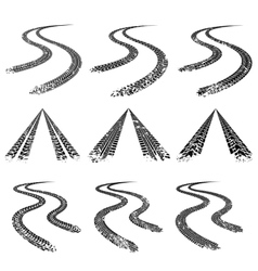 Tire trace road collection vector