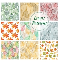 Stylish foliage seamless decorative patterns vector