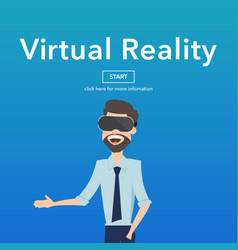 Business use virtual reality web page concept vector