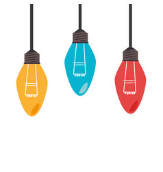 colorful set collection light bulb hanging vector image