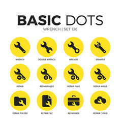 wrench flat icons set vector image