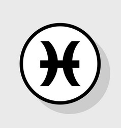 pisces sign   flat black icon vector image