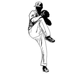 baseball pitcher sketch vector image