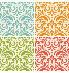 4 seamless floral vintage patterns vector