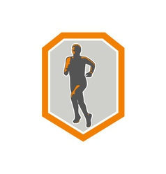 Marathon Runner Running Front Shield Retro vector image