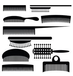 Silhouettes of combs vector
