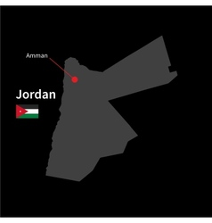 Detailed map of jordan and capital city amman with vector