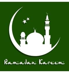 Ramadan Kareem greeting card with mosque vector image