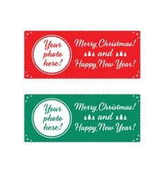 Christmas characters and labels words merry vector