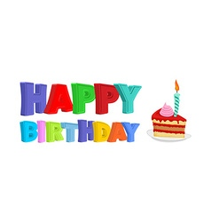 Happy birthday piece of festive cake with candle vector