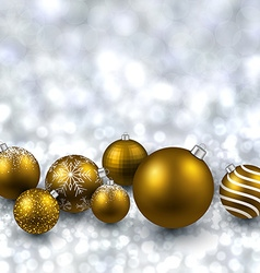 Silver background with golden christmas balls vector