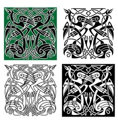 Heron birds with celtic ornament vector