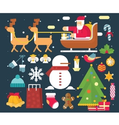 Christmas character and new year santa claus flat vector