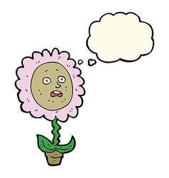 Cartoon flower with face with thought bubble vector