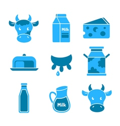 Dairy and milk flat icons set vector