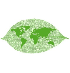 Green leaf world map vector