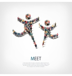 Meet people sign 3d vector