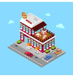Isometric pizzeria modern restaurant with parking vector