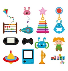 Childrens toys icon set vector