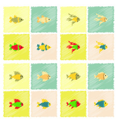 aquarium fish silhouette stock collection in vector image vector image