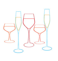 Background with glasses of wine vector