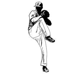 baseball pitcher sketch vector image vector image