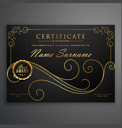 black and golden premium certificate template vector image