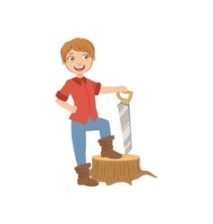 Boy Dressed As Lumberjack Holding A Saw vector image