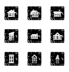 Building icons set grunge style vector