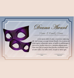 Certificate template for drama award vector
