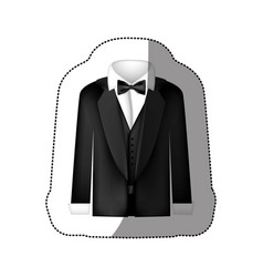 color sticker shirt with bow tie and coat icon vector image