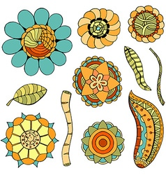 colored doodle flowers vector image vector image