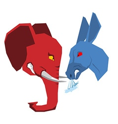 Elephant and Donkey Republicans and Democrats vector image vector image