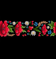 embroidery stitches with flowers vector image