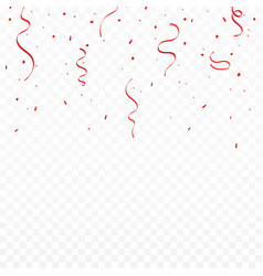 festive background with red ribbons and confetti vector image vector image