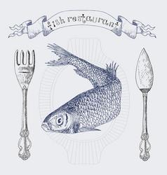Fish restaurant banner with herring vertical vector