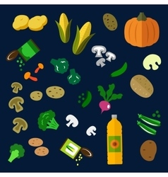 Flat fresh and canned vegetables icons vector