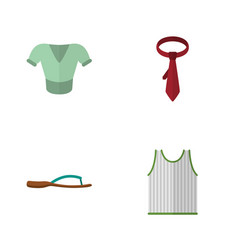 Flat garment set of cravat casual singlet and vector