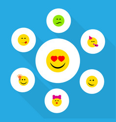 flat icon gesture set of love frown party time vector image vector image