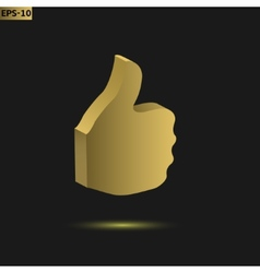 Golden thumb up vector image vector image